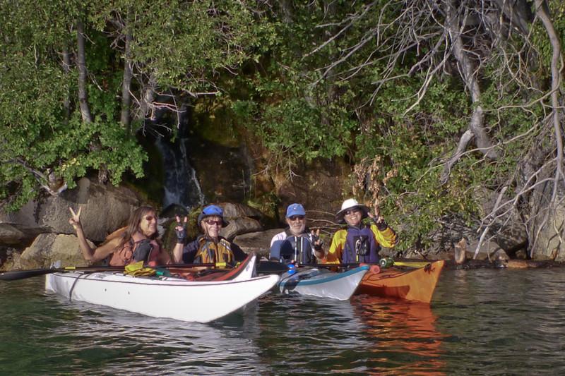 Diane, LaRhee, Larry, Danita at the same waterfall.