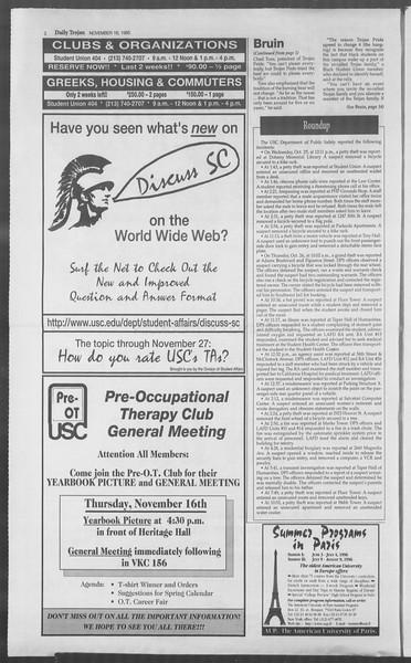 Daily Trojan, Vol. 126, No. 54, November 16, 1995