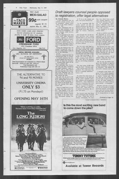 Daily Trojan, Vol. 88, No. 65, May 14, 1980