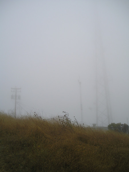 OMG, finally, after about an hour and a half of sweating upwards 1000 feet over 2 miles, suddenly there we are at the top, and we can still barely see the towers!