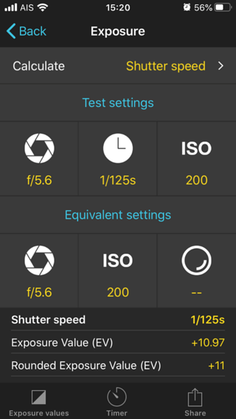 Photopills exposure calculator, can be used in a manual phone camwra app but aimed at seperate cameras