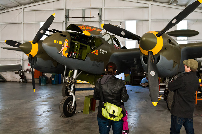 Felicity with the P-38