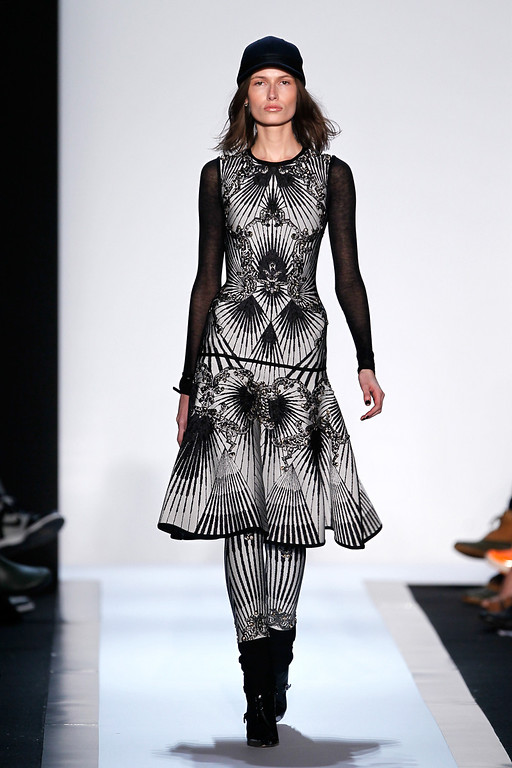 . NEW YORK, NY - FEBRUARY 09:  A model walks the runway at the Herve Leger by Max Azria Fall 2013 fashion show during Mercedes-Benz Fashion Week at The Theatre at Lincoln Center on February 9, 2013 in New York City.  (Photo by Peter Michael Dills/Getty Images for Mercedes-Benz Fashion Week)