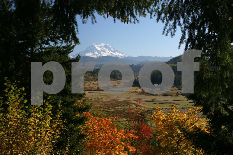 Mt. Rainier and the Ohop Valley in the autumn.