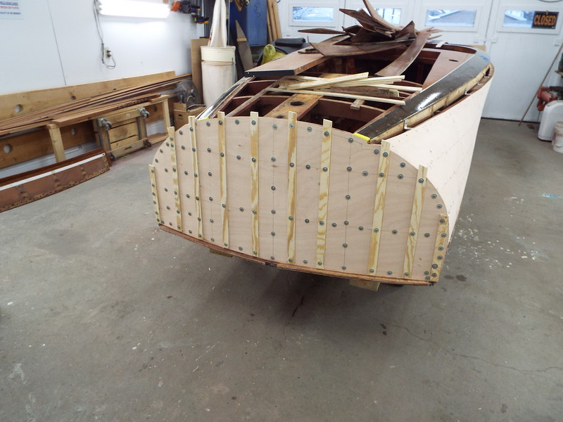 Transom plywood skin epoxied in place.