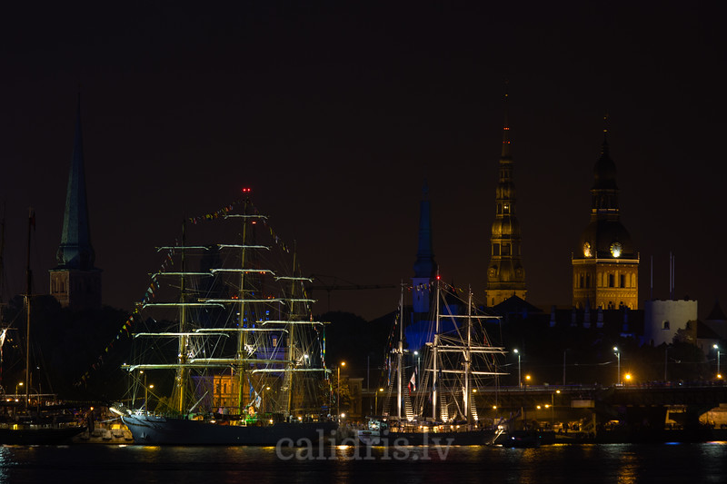 Ships of Tall Ships Race 2013 in front of the Riga  Old Town at night