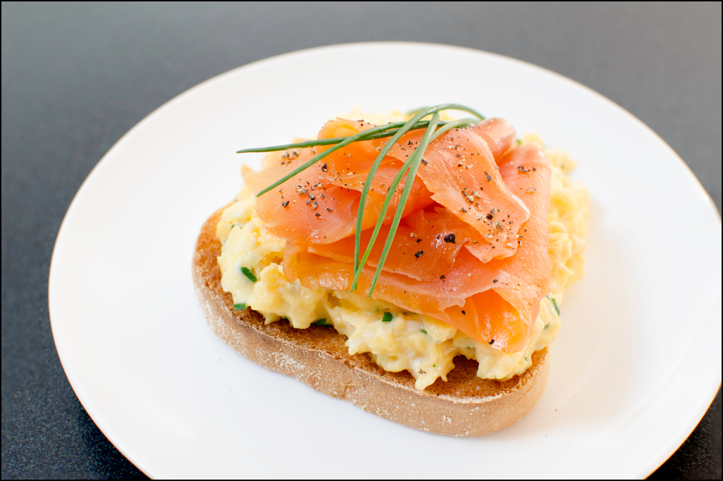 Cold Smoked Atlantic Salmon, Scrambled Eggs and Chives on Toast - Woodbridge Smokehouse