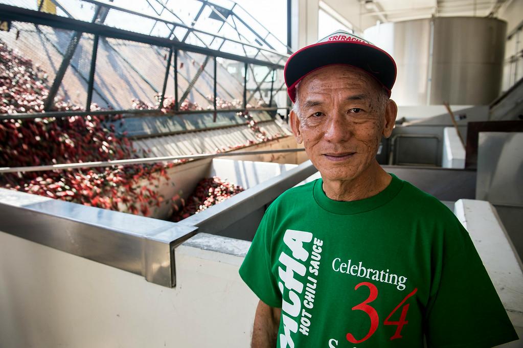 . Huy Fong CEO David Tran at his Sriracha hot sauce factory in Irwindale on Friday, August 22, 2014. (Photo by Watchara Phomicinda/ Pasadena Star-News)