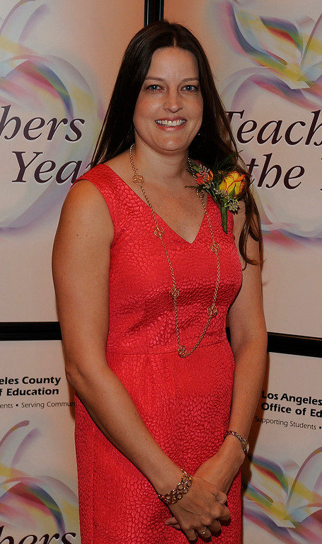 . Johna Stienstra from Duarte USD. Sixteen teachers from throughout the Los Angeles County were named as Teachers of the Year during a ceremony at the Universal Hilton. Teachers received a cash award from the California  Credit Union as well as software and hardware to use in their classrooms from eInstruction. Universal City, CA. 9/27/2013. photo by (John McCoy/Los Angeles Daily News)