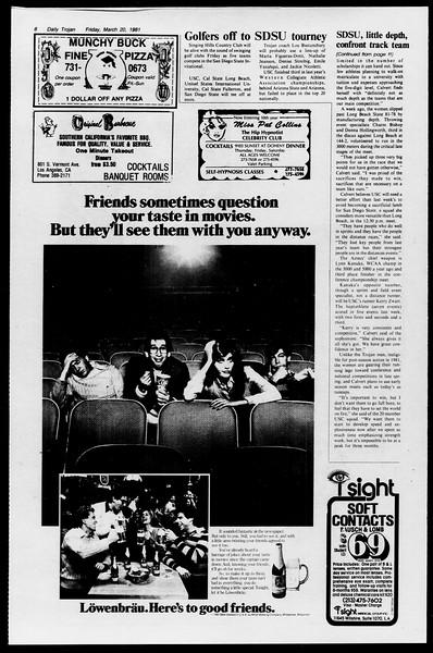 Daily Trojan, Vol. 90, No. 31, March 20, 1981