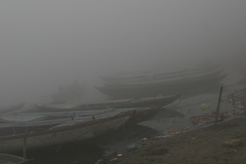 Foggy morning on the Ganga river, Benares, Varanasi, India