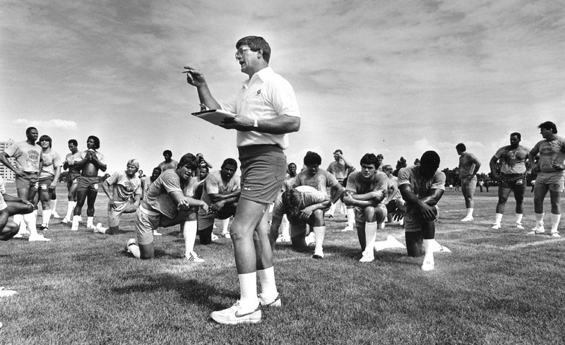 . Aug. 2, 1982: Coach Dan Reeves made a point -- and everyone was sure to listen during camp. (Terry John, The Denver Post)