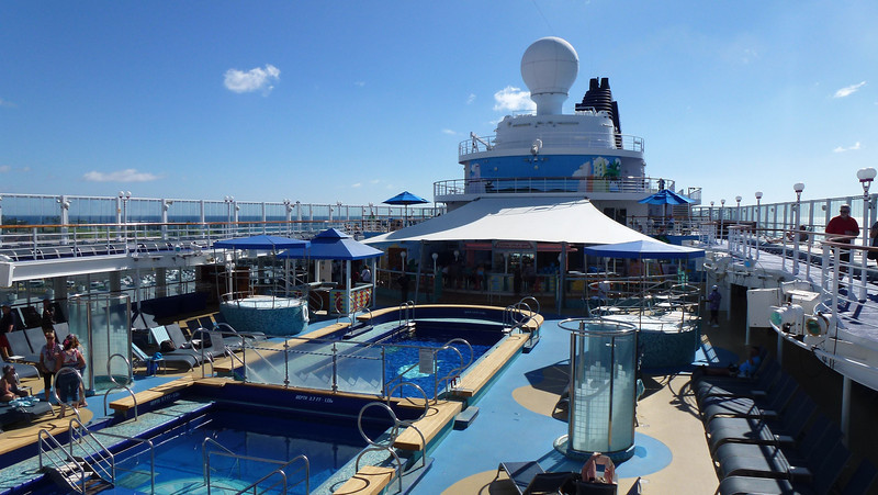 The pool deck on the ship.