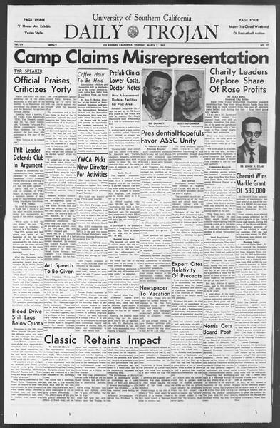 Daily Trojan, Vol. 54, No. 77, March 07, 1963