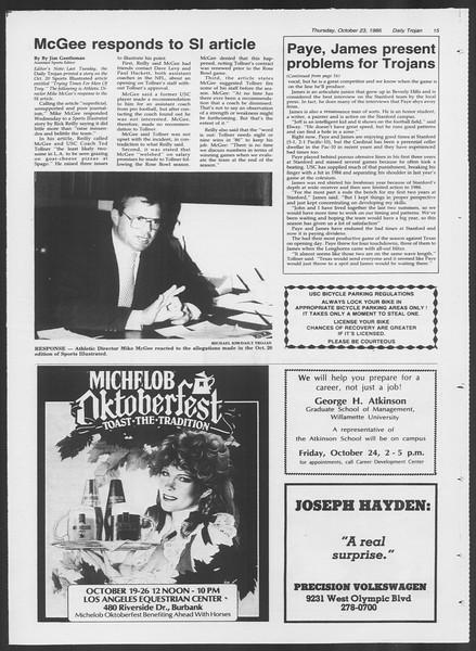 Daily Trojan, Vol. 102, No. 38, October 23, 1986