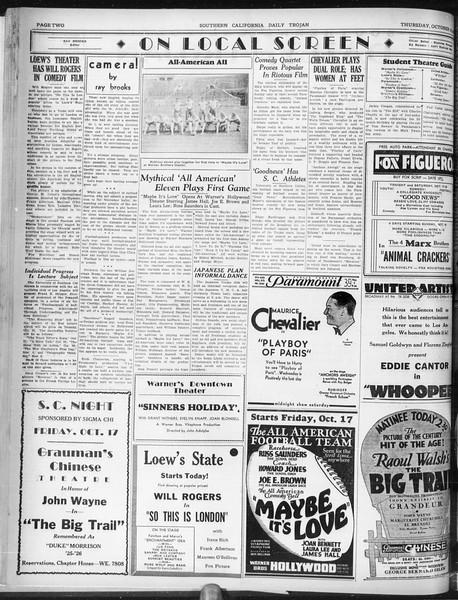 Daily Trojan, Vol. 22, No. 25, October 16, 1930