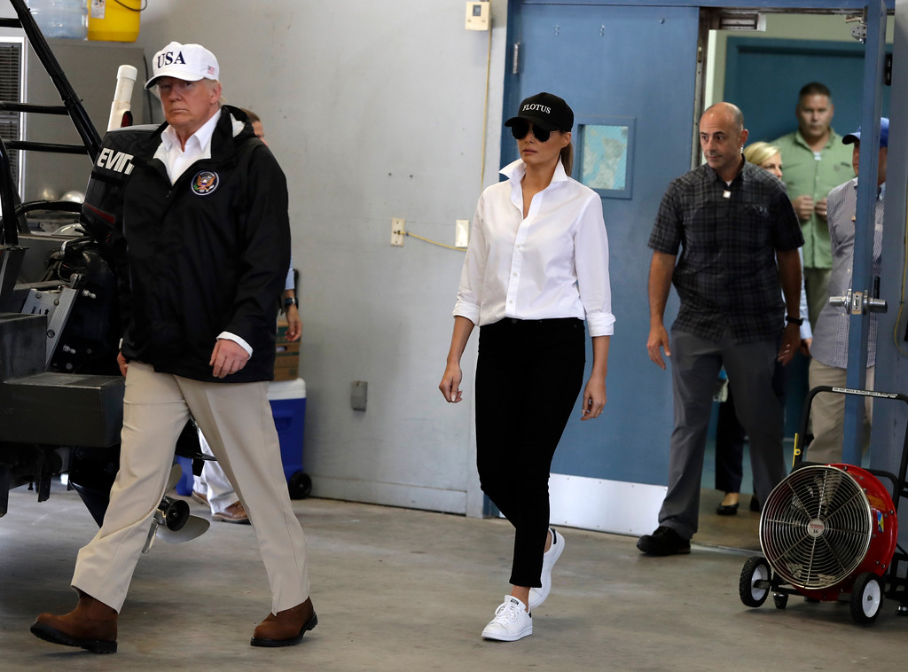. President Donald Trump and first lady Melania Trump arrive take part in a briefing on Harvey relief efforts, Tuesday, Aug. 29, 2017, at Firehouse 5 in Corpus Christi, Texas. (AP Photo/Evan Vucci)