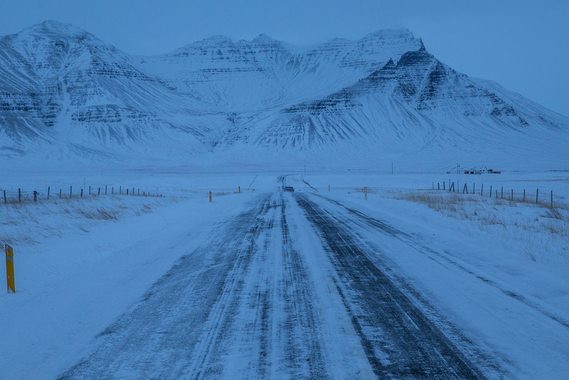 Lonely, icy drive to Snæfellsnes.