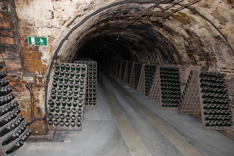 Underground storage facility at Codorníu Winery, showing bottles lining one of the tunnels. (Dec 13, 2007, 04:54pm)