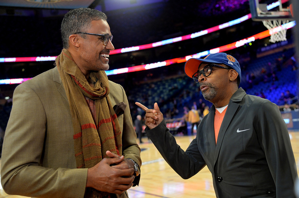 . NEW ORLEANS, LA - FEBRUARY 15:  Former NBA Player Rick Fox (L) and Director Spike Lee attend the State Farm All-Star Saturday Night during the NBA All-Star Weekend 2014 at The Smoothie King Center on February 15, 2014 in New Orleans, Louisiana.  (Photo by Mike Coppola/Getty Images)