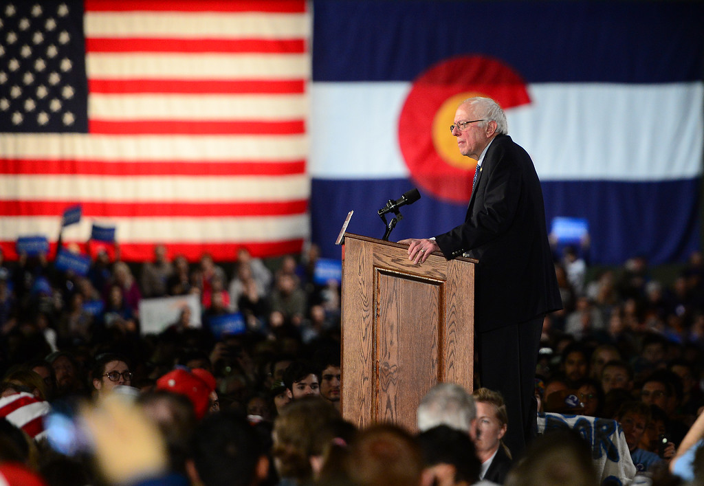 . Candidate for the Democratic nomination, U.S. Senator Bernie Sanders speaks during a rally at the Colorado Convention Center on February 13, 2016 in Denver, Colorado. U.S. Senator Sanders, one of the two remaining candidates biding for Democratic nomination for President, held a rally for Colorado to help push his message and also remind voters of the importance of voting in the upcoming caucuses for Colorado. (Photo by Brent Lewis/The Denver Post)