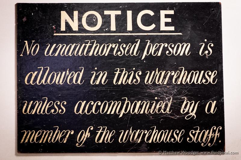Woodget-140530-0810--notice, old - worn, old fashioned, staff, unauthorised, unauthorized, warehouse.jpg