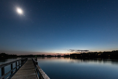 Moon set, Bass Pond, Kiawah Island, SC
