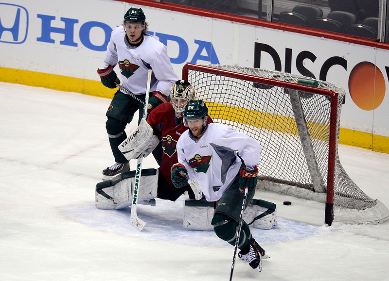 . Minnesota Wild goalie Darcy Kuemper (35) in goal during practice April 23, 2014 at Xcel Energy Center. (Photo by John Leyba/The Denver Post)