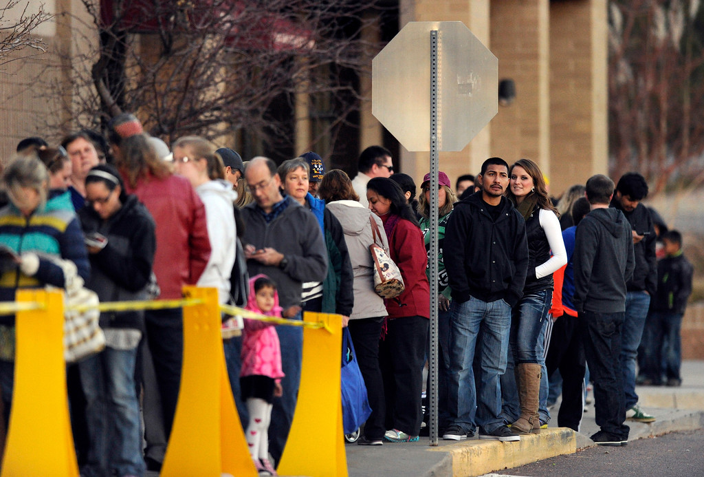 . Hundreds of shoppers lined up for deals at the Toys R Us on County Line Road in Arapahoe County Thursday night, November 28, 2013. Photo By Karl Gehring/The Denver Post
