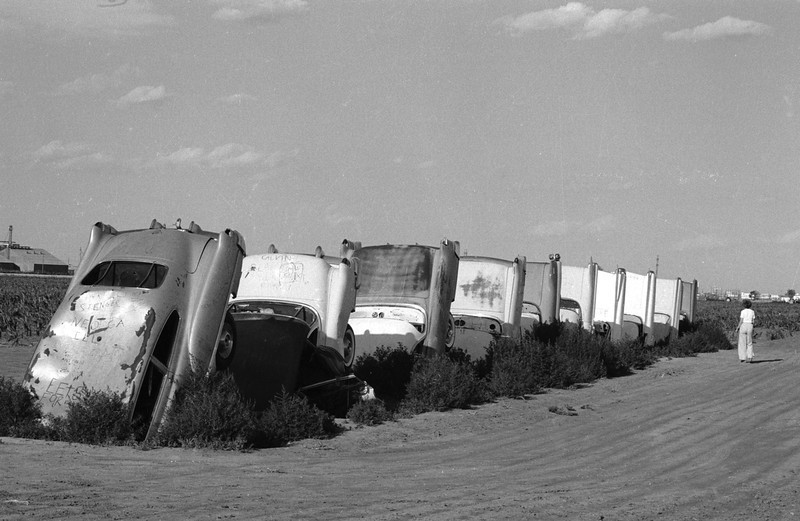 . January 1981:  A memorial to cadillacs created by Texan businessman Stanley Marsh. Every time he buys a new Cadillac he part-buries his old one in concrete on his Amarillo ranch overlooking the Expressway 40.  (Photo by BIPS/Getty Images)