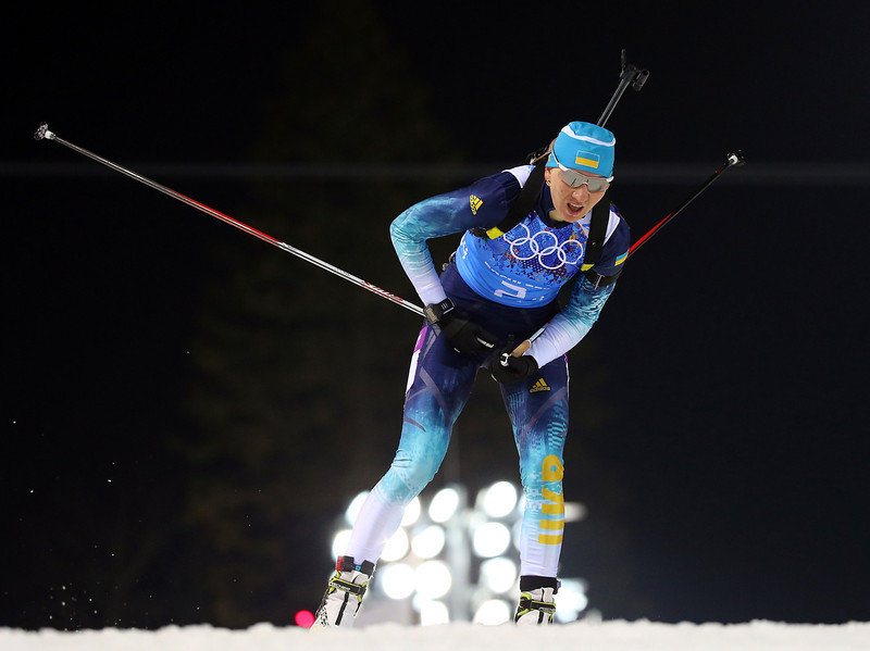. Olena Pidhrushna of Ukraine competes during the Biathlon Women\'s 4 x 6 km Relay on day 14 of the Sochi 2014 Winter Olympics at Laura Cross-country Ski & Biathlon Center on February 21, 2014 in Sochi, Russia.  (Photo by Robert Cianflone/Getty Images)