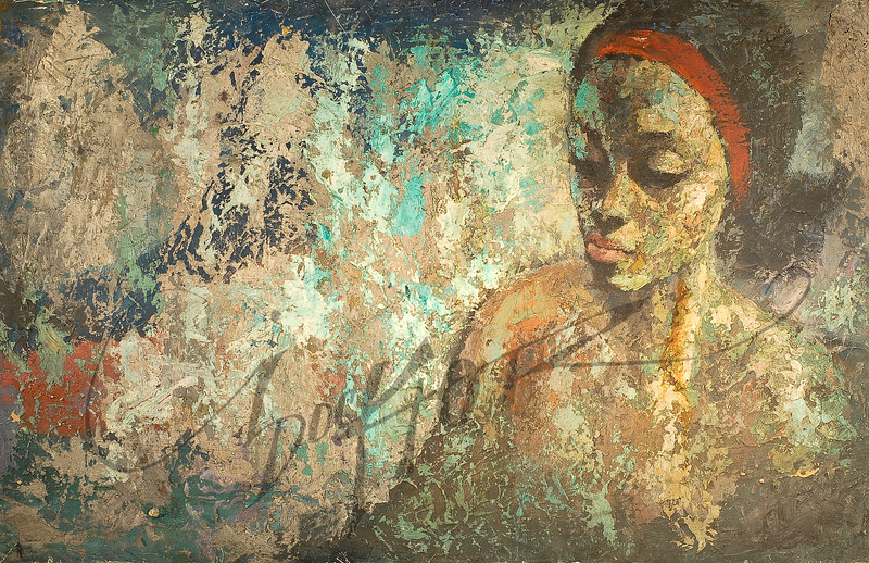 Woman with red headband by Irv Docktor