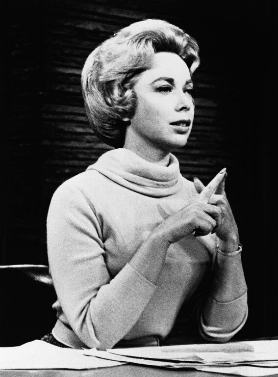 . Psychologist Dr.Joyce Brothers shown in the studio of her direct line radio show, saved a would-be suicide in 1968. (AP Photo)
