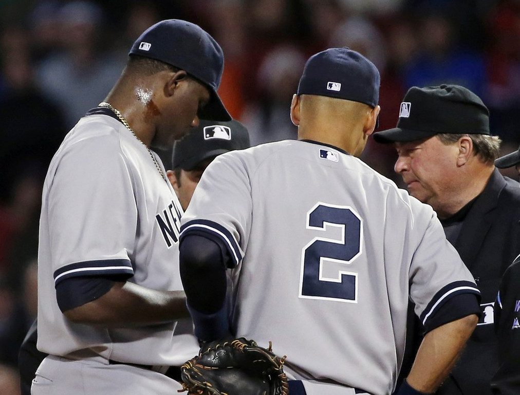 """. <p><b> New York Yankees pitcher Michael Pineda was suspended 10 games after he was caught on the mound with this smeared on his neck � </b> <p> A. Pine tar <p> B. Human growth hormone <p> C. The blood of his latest victim <p><b><a href=\'http://www.twincities.com/sports/ci_25628205/michael-pineda-hard-yankees-wash-their-hands-pine\' target=\""""_blank\""""> LINK </a></b> <p>    (AP Photo/Elise Amendola)"""
