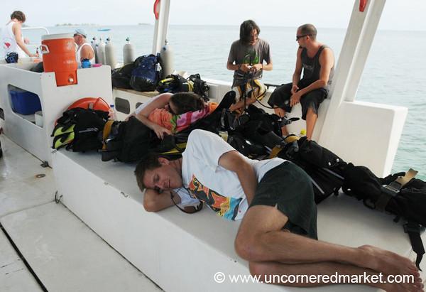 Napping Diver - Utila, Honduras