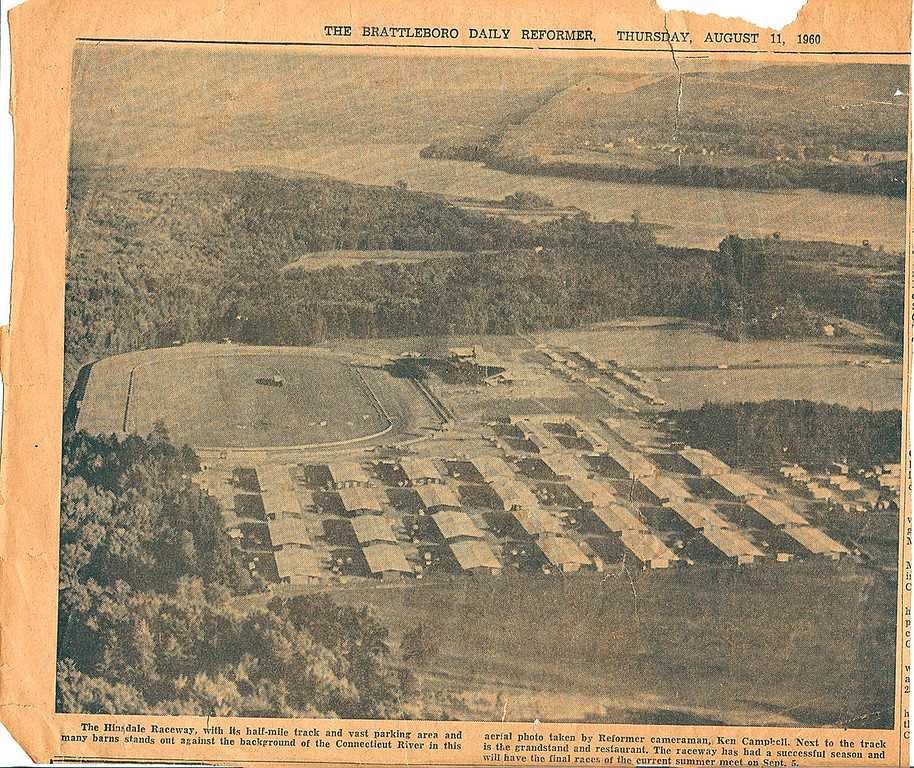 . This clipping from the Brattleboro Daily Reformer shows an aerial view of the race track from August 1960.