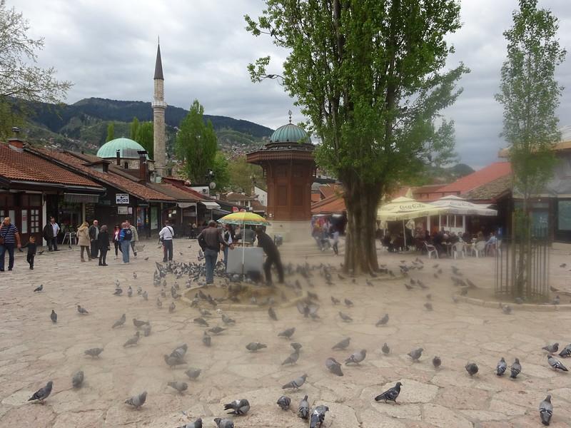 28_Sarajevo. Bascarsija is the heart of Old-Sarajevo. 1462. In the center of it is the Sebilj (from Arabic word depicting a kiosk like public fountain).JPG