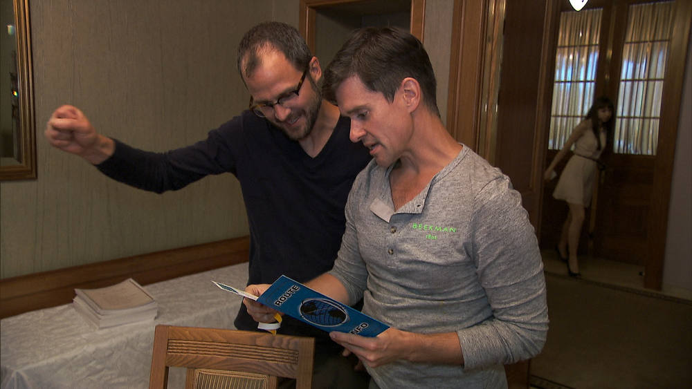. We Was Robbed (Moscow, Russia) Goat Farmers/Life Partners Josh (left) and Brent (right) read the next clue on THE AMAZING RACE on the CBS Television Network. Photo: CBS ©2012 CBS Broadcasting, Inc. All Rights Reserved