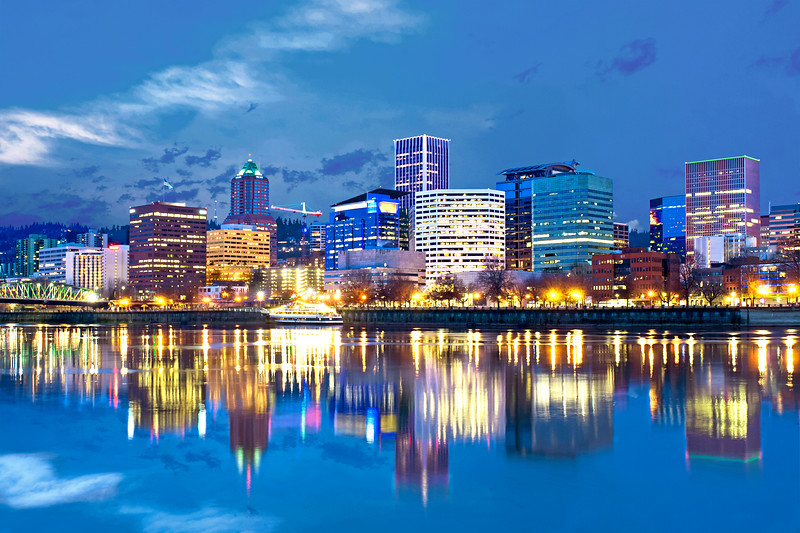 Portland from the Willamette River at night