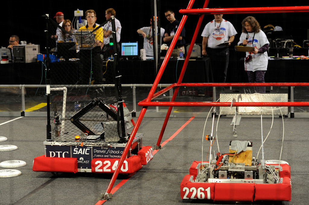 . DENVER, CO.- APRIL 6: The Colorado Regional FIRST Robotics Competition takes place in Magness Arena inside the Ritchie Center on the University of Denver campus. High School students from all over the state, region, and even a team from Mexico, participate in a high-tech spectator sporting event (this year the teams used frisbees) using specially engineered robots that are maneuvered by human drivers using computers and joy sticks.(Photo By Kathryn Scott Osler/The Denver Post)