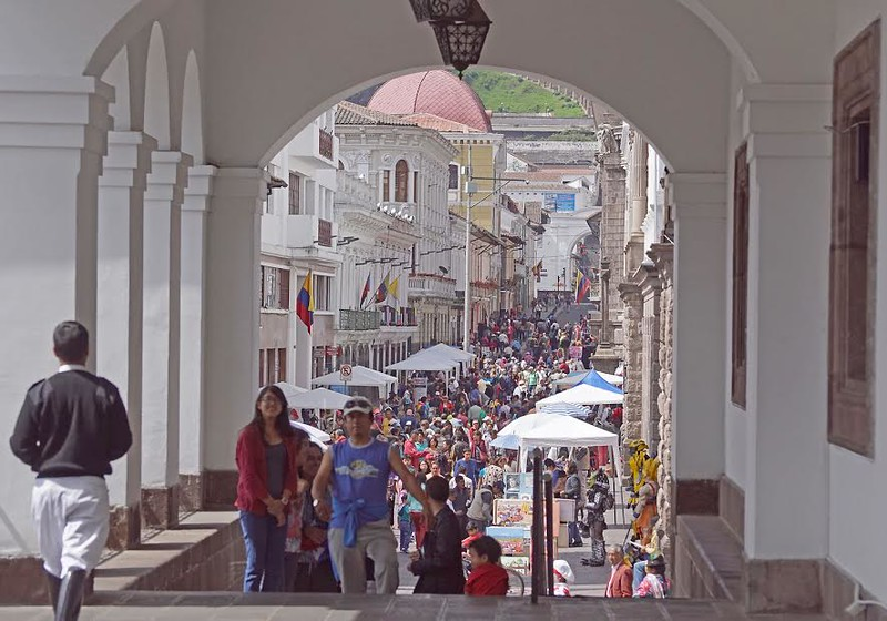 People walking on the street in Quito, Ecuador.