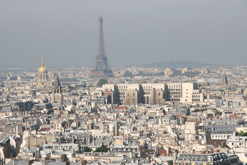 Eiffel Tower as seen from the top of Notre Dame.