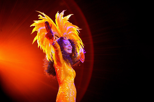 . U.S. singer Diana Ross sings to thousands of fans at the Odyssey Arena in Belfast, Northern Ireland, Thursday, March, 11, 2004. The singer is performing on the Belfast leg of her Irish tour.  (AP Photo/Peter Morrison)