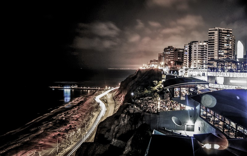 Miraflores district at night