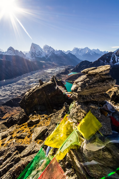 View of snowcapped mountain and prayer flag - Khumjung - Nepal