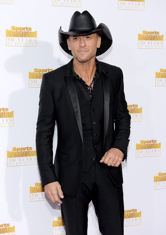 . Musician Tim McGraw attends NBC and Time Inc. celebrate the 50th anniversary of the Sports Illustrated Swimsuit Issue at Dolby Theatre on January 14, 2014 in Hollywood, California.  (Photo by Dimitrios Kambouris/Getty Images)