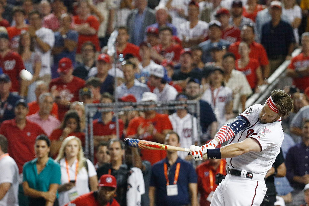 . Washington Nationals Bryce Harper hits during the MLB Home Run Derby, at Nationals Park, Monday, July 16, 2018 in Washington. The 89th MLB baseball All-Star Game will be played Tuesday. (AP Photo/Patrick Semansky)