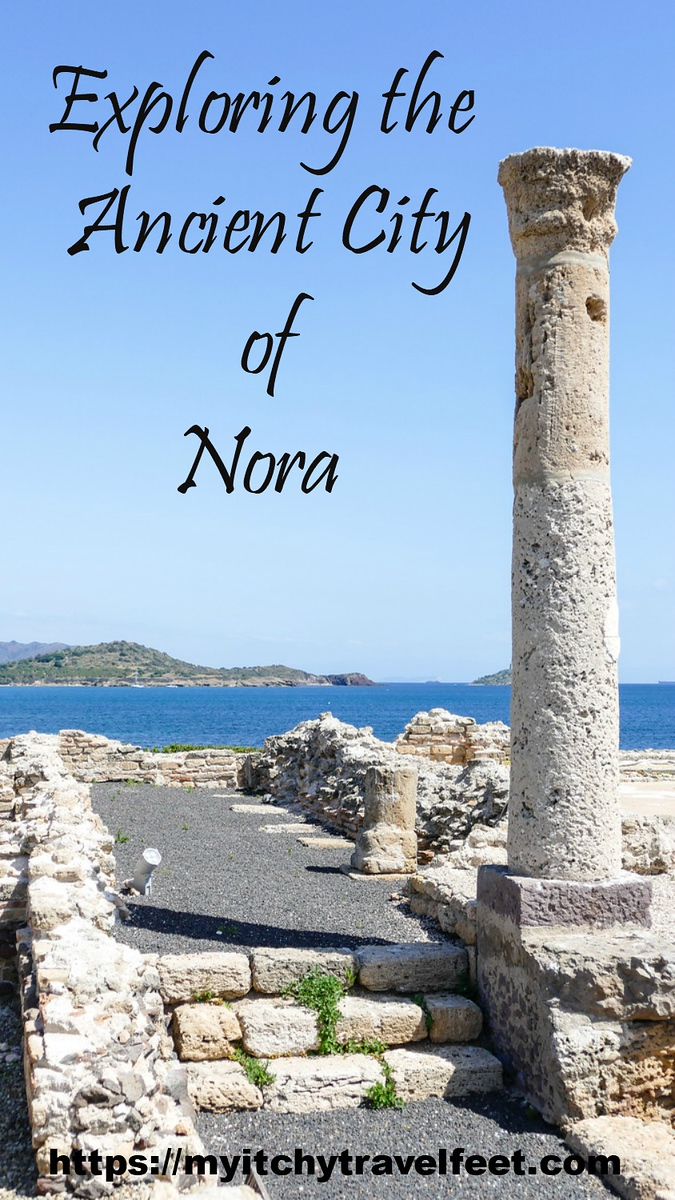 Text on photo: Exploring the ancient city of Nora. Photo: A temple column stands among the archaeological ruins at Nora, Sardinia.
