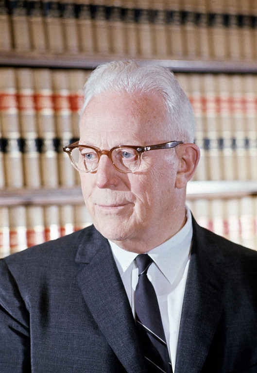 . Chief Justice Earl Warren poses in his private office at the Supreme Court in Washington, D.C., May 21, 1963. (AP Photo/Henry Burroughs)