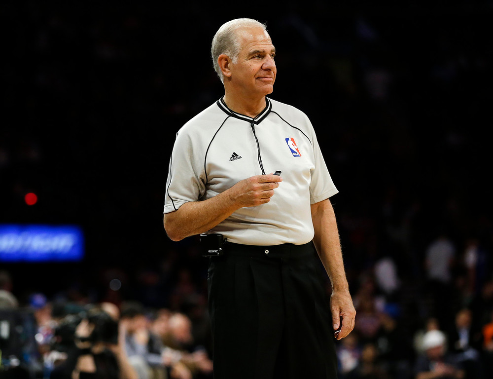 . Referee Bennett Salvatore watches a free throw during the second half of an NBA basketball game between the New York Knicks and the Detroit Pistons on Wednesday, April 15, 2015, in New York. The Pistons won 112-90. (AP Photo/Frank Franklin II)